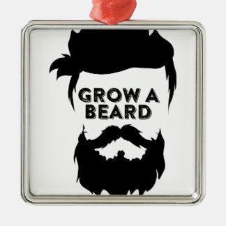 Ornement Carré Argenté Laissez-vous pousser une barbe alors que nous