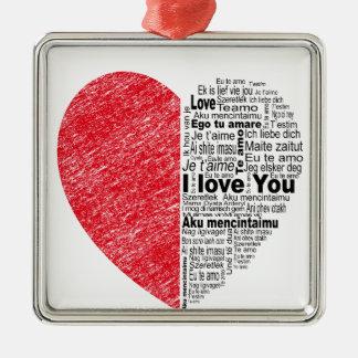 Ornement Carré Argenté l'amour, demi de la couleur et le texte conçoivent