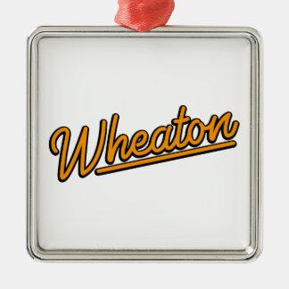 Ornement Carré Argenté Lampe au néon de Wheaton dans l'orange