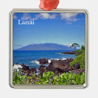 Ornement Carré Argenté Lanai de Maui