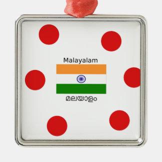 Ornement Carré Argenté Langue de Malayalam et conception de drapeau de