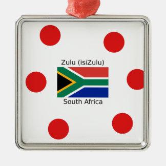 Ornement Carré Argenté Langue de zoulou (isiZulu) et drapeau de l'Afrique