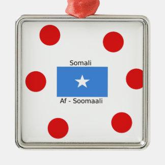 Ornement Carré Argenté Langue somalienne et conception de drapeau de la