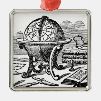 Ornement Carré Argenté Le bureau du cartographe - globes