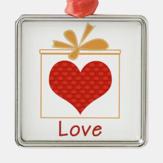 Ornement Carré Argenté Le cadeau de l'ornement en métal de carré d'amour