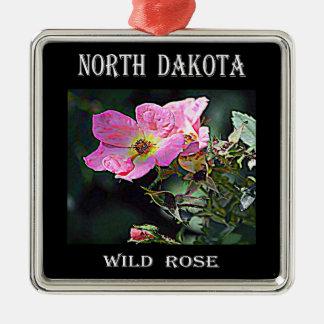 Ornement Carré Argenté Le Dakota du Nord sauvage s'est levé