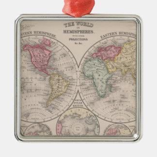 Ornement Carré Argenté Le monde 1860 - oriental et hémisphères de l'ouest