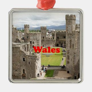Ornement Carré Argenté Le Pays de Galles : Château de Caernarfon,