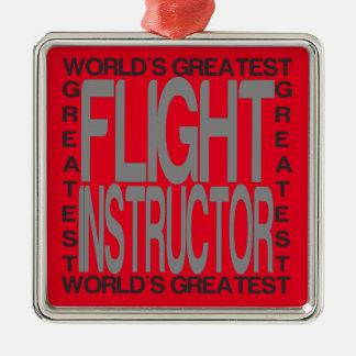 Ornement Carré Argenté Le plus grand instructeur de vol des mondes