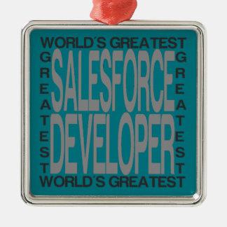 Ornement Carré Argenté Le plus grand promoteur de Salesforce des mondes