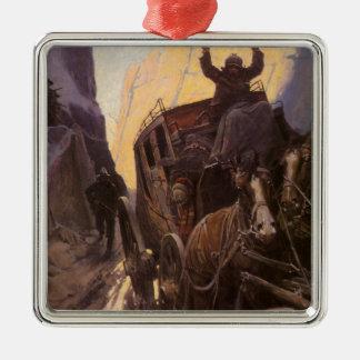 Ornement Carré Argenté Les cowboys vintages, supportent dans le canyon