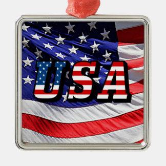 Ornement Carré Argenté Les Etats-Unis - Drapeau américain