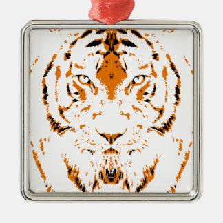 Ornement Carré Argenté Les humains sont comme des tigres, sauvages