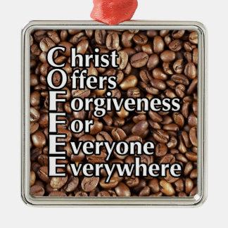 Ornement Carré Argenté Les offres carrées du Christ de grains de café