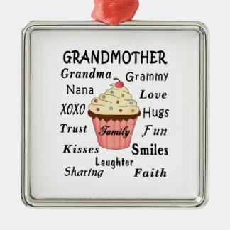 Ornement Carré Argenté Les petits gâteaux de la grand-maman pour des