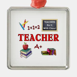 Ornement Carré Argenté Les professeurs le font avec la classe