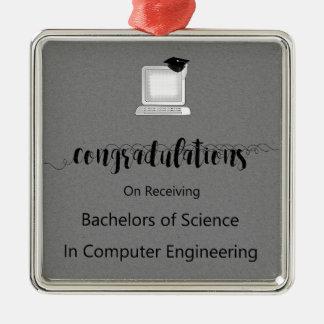 Ornement Carré Argenté Licenciés en Science dans le génie informatique