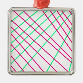 Ornement Carré Argenté Lignes Vertes roses, art d'enfants, peinture de la
