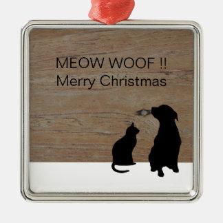 Ornement Carré Argenté L'illustration de chien de chat silhouette Noël