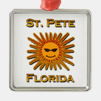 Ornement Carré Argenté Logo de St Peter la Floride Sun