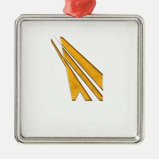 Ornement Carré Argenté logo d'or