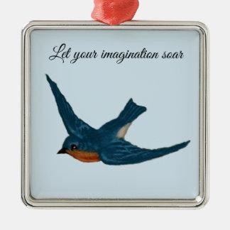 """Ornement Carré Argenté L'oiseau bleu inspiré """"a laissé votre imagination"""