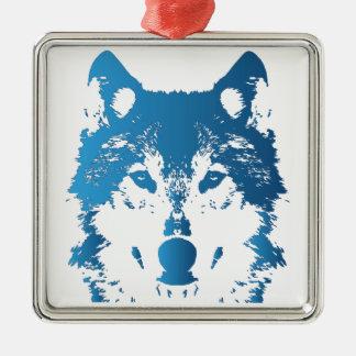 Ornement Carré Argenté Loup de bleu glacier d'illustration