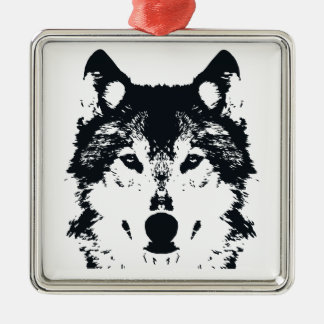 Ornement Carré Argenté Loup noir d'illustration