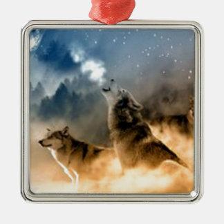 Ornement Carré Argenté Loups dans le clair de lune