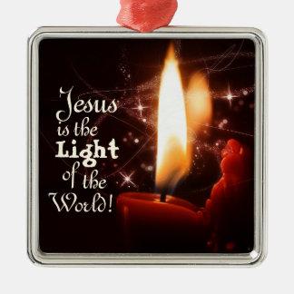 Ornement Carré Argenté Lumière de Jésus du monde, bougie de Noël