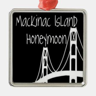 Ornement Carré Argenté Lune de miel d'île de Mackinac