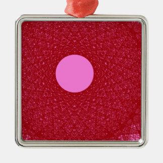 Ornement Carré Argenté lune rose rayonnant l'art abstrait de lumière