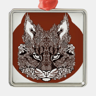 Ornement Carré Argenté Lynx