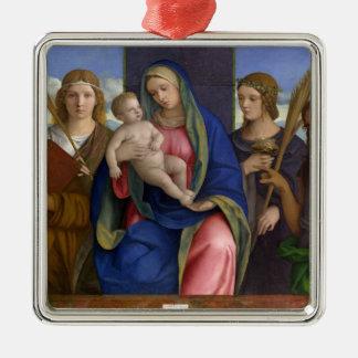 Ornement Carré Argenté Madonna et enfant avec des saints