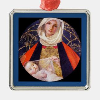 Ornement Carré Argenté Madonna tenant l'enfant