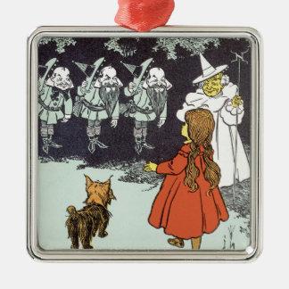 Ornement Carré Argenté Magicien d'Oz vintage Dorothy Toto Glinda