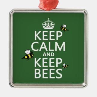 Ornement Carré Argenté Maintenez calme et gardez les abeilles - toutes