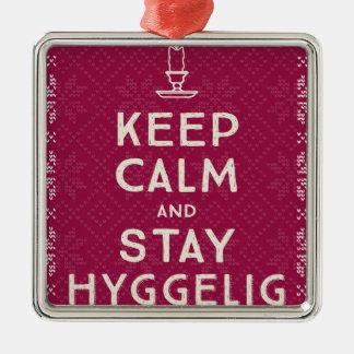 Ornement Carré Argenté Maintenez calme et séjour Hyggelig