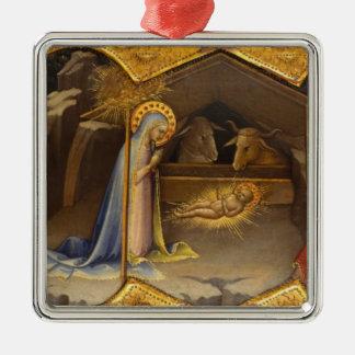 Ornement Carré Argenté Mary et bébé Jésus dans Manger