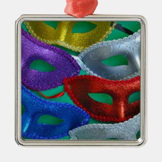 Ornement Carré Argenté Masques colorés de parties scintillantes
