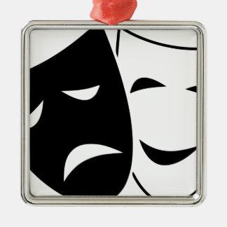 Ornement Carré Argenté Masques de tragédie de comédie