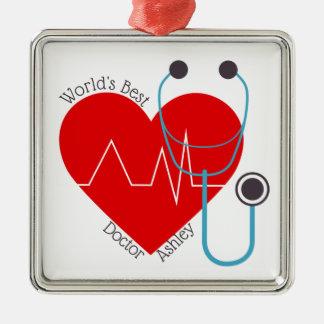 Ornement Carré Argenté Meilleur docteur Nurse du monde personnalisé par