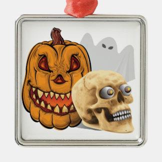 Ornement Carré Argenté Mélange de Halloween