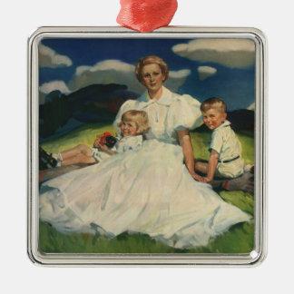 Ornement Carré Argenté Mère vintage avec le portrait de famille d'enfants