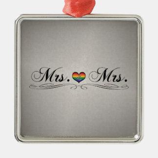 Ornement Carré Argenté Mme et Mme Lesbian Design