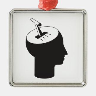 Ornement Carré Argenté mode de cerveau - levier de pensée de décalage