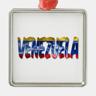 Ornement Carré Argenté Mot du Venezuela avec l'ornement de texture de