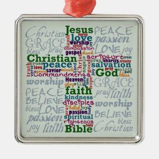 Ornement Carré Argenté Mot religieux chrétien Art Cross