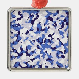 Ornement Carré Argenté Motif bleu de camouflage