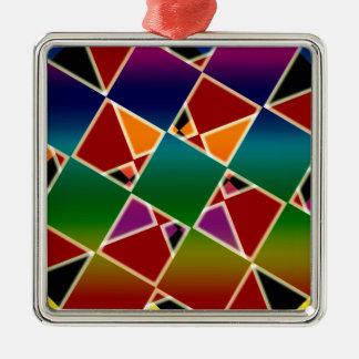 Ornement Carré Argenté Motif carré coloré carrelé